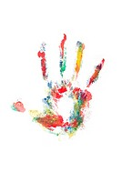 Colourful handprint on a white background