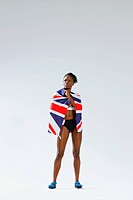 Female Athlete Wearing a British Flag