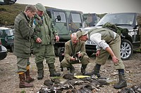 Men counting bag of shot Red Grouse Lagopus lagopus scoticus after driven day on moor, Glen Feshie Estate, Cairngorms N P , Grampian Mountains, Highla...