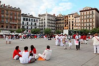 Feria de San Fermin at Plaza del Castillo, Pamplona, Spain, Europe