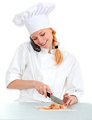 smoking lady chef with phone and onion