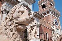 Italy, Veneto, Venice, Arsenale, stone lion and statues with Arsenale entrance