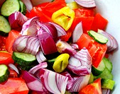 Various cut vegetables