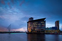 England, Greater Manchester, Salford Quays  Swing Bridge and Media City UK buildings located on the Salford Quays in the city of Salford near Manchest...