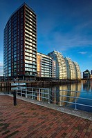 England, Greater Manchester, Salford Quays  NV apartments located along the Manchester Ship Canal in Salford