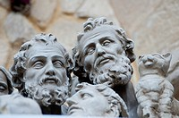 Saints Heads in a papermache laboratory in Lecce, Italy