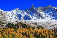 Aiguille, mountain, Aiguille de la Tsa, Arolla, Arolla valley, mountain panorama, Eringer valley, autumn, colors, larch, larches, larch wood, peak, Ts...