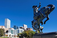 USA, United States, America, Colorado, Denver, City, Bronco Buster, Sculpture, Civic Park, Downtown, blue, bronze, clear, downtown, famous, horse, mon...