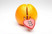 chopped orange with heart-shaped padlock