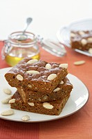 Honey cake with almonds