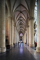 Aisle of the St  Michael and St  Gudula Cathedral, in Saint-Josseten-Noode, Brussels, Belgium