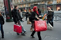 Paris, France, January Sales Shopping, Crowd Outside Galeries Lafayette Department Store, Walking on Sidewalk