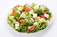 Green Salad with Cubes of Cheese, White Background