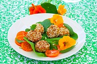 Falafel with nasturtium flowers and leaves