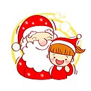Illustration of Santa Claus and a little girl