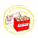Illustration of popcorn and movie ticket