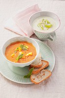 Cream of leek soup and tomato_mango soup