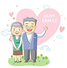 Illustration of smiling senior couple