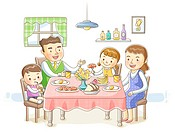 Illustration of family having breakfast together