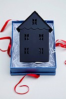 Model of home in a gift box