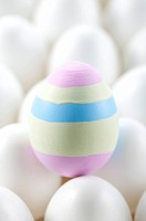 One colored Easter egg amongst white ones on egg