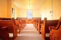 Interior of a church on Cape Cod. Falmouth, Massachusetts