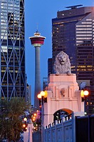 The Calgary tower and lion on Centre St. bridge, downtown Calgary, Alberta, Canada