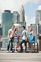 Tourists in front of skyline