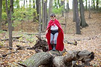 Boy 5-6 in costume walking on log in forest (thumbnail)