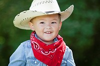 Portrait of boy 3_4wearing cowboy costume