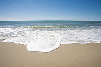 Wave washes onto Cisco Beach, Nantucket Island, Massachusetts, USA