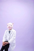 Pig Head Nutritionist Sitting With Crossed Leg