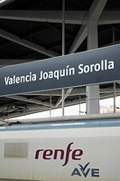 Spanish high speed train AVE Madrid-Valencia. Joaquin Sorolla Station. Valencia. Spain