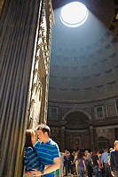 Couple kissing at the Roman Pantheon Rome Italy