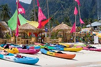 Colored sea kayaks white sand Ao Lo Dalam beach Ko Phi Phi island Thailand