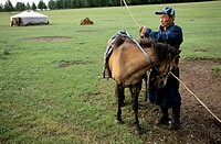 A Mongolian shepherd with his horse