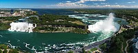 Panoramic aerial view on Niagara Falls from Canada side with American Falls on the left and Canadian Horseshoe on the right, Ontario, Canada and New Y...