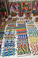 Mexican beaded jewelry and yarn art.