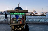 Food kiosk on the Golden Horn by the Galata Bridge, located in the Eminönü district of Istanbul, Turkey.