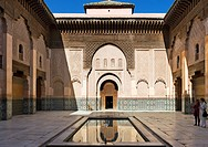 Courtyard of the Ben Yousse Medersa Madrasa, Medina district, Marrakech, Morocco, North Africa