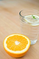 Slice of Orange and Water