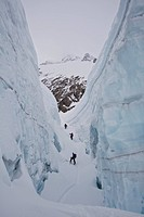 A group of people ski touring in the Canadian Rockies backcountry. Icefall Lodge, British Columbia, Canada