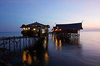 Kapalai resort at Kapalai Island at sunset, Borneo, Malaysia