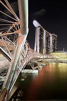 The Helix bridge and the Marina Bay Sand Hotel, Singapore