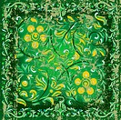 abstract cracked floral ornament on green background