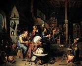 Chemist working. Historical oil painting by Balthasar van den Bossche, entitled ´The Iatrochemist´, depicting a medical chemist and his assistants bac...