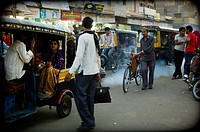 urban typical sequence in a street in the city of Jaipur, India, Asia