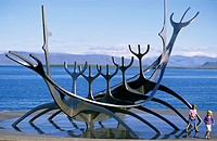 Sun Voyager or Solfar steel viking ship sculpture on seafront by John Gunnar Arnason, Reykjavik, Iceland
