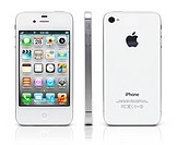 White iPhone 4s Apple smartphone shown fron three sides, front, back and side view. Isolated on white background with clipping path