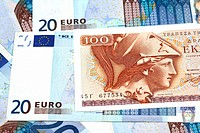 greek drachma and euro banknotes